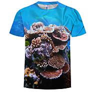 Men's Plus Size Cotton T-shirt - 3D Print Round Neck Blue XXXXL