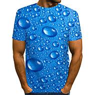 povoljno -Veličina EU / SAD Majica s rukavima Muškarci - Ulični šik / pretjeran Dnevni Nosite / Klub Jednobojni / Na točkice / 3D Okrugli izrez Print Plava / Kratkih rukava