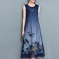 女性用 アジアン・エスニック シフォン ドレス - プリント アシメントリー