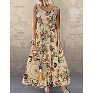 povoljno -Žene Veći konfekcijski brojevi Širok kroj Swing kroj Haljina - Print, Cvjetni print Maxi