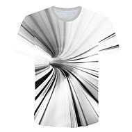 זול -3D צווארון עגול טישרט - בגדי ריקוד גברים דפוס לבן US40