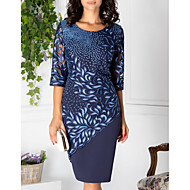 Women's Elegant Shift Dress - Geometric Lace Print Lace Blue M L XL XXL
