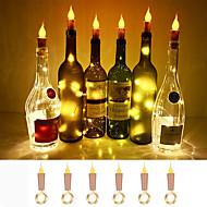 billige -loende flamme korkformede lys 6-pak brannflaskeflasker lyser batteridrevne levende lys for vinflasker