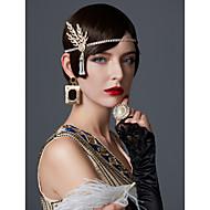 Den store Gatsby Flapperpannebånd i 1920-stil Anheng / 1920-tallet / De stormende 20-årene Dame Svart / Sølv / Gylden Strass / Chrome Fest Skoleball Cosplay-tilbehør Maskerade kostymer