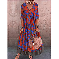 Women's Street chic Maxi Shift Dress - Geometric Print V Neck Green Red Gray M L XL XXL