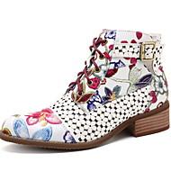 povoljno -Žene Čizme Ravna potpetica Okrugli Toe PU Čizme gležnjače / do gležnja Jesen zima Crn / Crvena