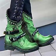 povoljno -Žene Čizme Blok pete Okrugli Toe PU Čizme do pola lista Jesen zima Crn / purpurna boja / Zelen