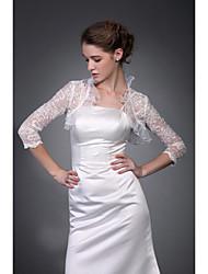billige -3/4 længde ærmer ærmer tyl blonder brude jakke / bryllup wrap (wsm0409)