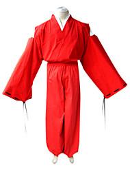 Недорогие -Вдохновлен Инуяша Inu Yasha Аниме Косплэй костюмы Косплей Костюмы Кимоно Однотонный Длинный рукав Кофты Хакама штаны кимоно Пальто