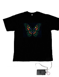 cheap -LED T-shirts Sound activated LED lights Textile Novelty 2 AAA Batteries