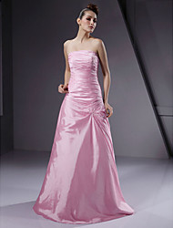 cheap -A-Line Princess Strapless Floor Length Taffeta Bridesmaid Dress with Beading Side Draping by LAN TING BRIDE®
