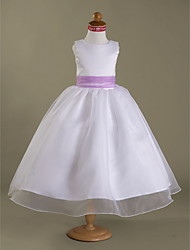 A-Line Princess Tea Length Flower Girl Dress - Organza Satin Sleeveless Straps with Draping by LAN TING BRIDE®
