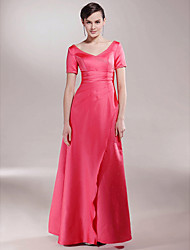 cheap -A-Line V Neck Floor Length Satin Mother of the Bride Dress with Beading / Split Front / Ruched by LAN TING BRIDE®