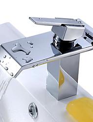 abordables -Moderno Cascada Válvula Cerámica Sola manija Un agujero Cromo, Baño grifo del fregadero