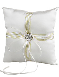 cheap -Lovely Rhinestone Decoration Smooth Satin Wedding Ring Pillow