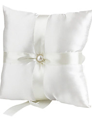 cheap -Lovely Pearl Decoration Smooth Satin Wedding Ring Pillow Wedding Ceremony
