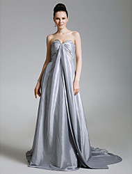 A-Line Princess Strapless Sweetheart Court Train Taffeta Formal Evening Dress with Beading Side Draping by TS Couture®