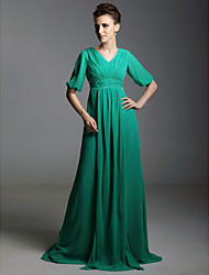 A-Line V-neck Sweep / Brush Train Chiffon Evening Dress with Beading by TS Couture®