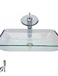 baratos -vitória retangular pia recipiente transparente de vidro temperado com torneira de cachoeira, anel de montagem e de drenagem de água (0917-vt4051)