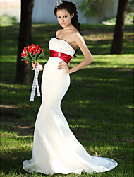 cheap -Mermaid / Trumpet Strapless Sweep / Brush Train Satin Wedding Dress with Crystal Floral Pin Draped Ruche by LAN TING BRIDE®