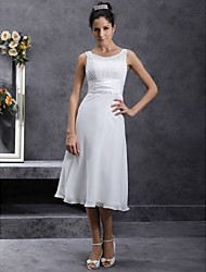 cheap -Sheath / Column Scoop Neck Tea Length Chiffon Custom Wedding Dresses with Appliques Sash / Ribbon Ruched by LAN TING BRIDE®