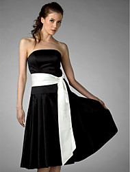 A-Line Princess Strapless Knee Length Satin Bridesmaid Dress with Sash / Ribbon by LAN TING BRIDE®
