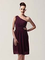 cheap -Sheath / Column One Shoulder Knee Length Chiffon Bridesmaid Dress with Pleats Side Draping by LAN TING BRIDE®