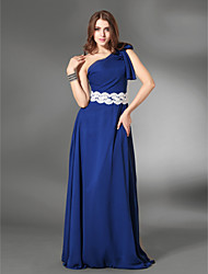 Sheath / Column One Shoulder Floor Length Chiffon Satin Evening Dress with Appliques by TS Couture®
