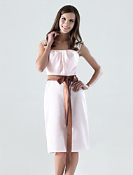Sheath / Column Straps Knee Length Satin Bridesmaid Dress with Bow(s) Draping Sash / Ribbon by LAN TING BRIDE®