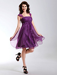 cheap -A-Line / Princess / Fit & Flare Straps Knee Length Organza Cocktail Party Dress with Ruffles / Ruched by TS Couture®