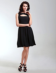 A-Line Princess Bateau Neck Knee Length Chiffon Cocktail Party Homecoming Holiday Dress with Draping by TS Couture®