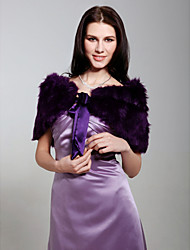 cheap -Sleeveless Feather/Fur Party Evening Fur Wraps Wedding  Wraps With Bow Shrugs