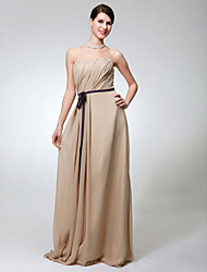 Sheath / Column Strapless Floor Length Chiffon Bridesmaid Dress with Sash / Ribbon Side Draping by LAN TING BRIDE®
