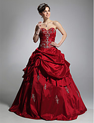 cheap -Ball Gown Strapless Sweetheart Floor Length Taffeta Prom Dress with Appliques by TS Couture®