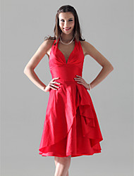 cheap -A-Line Princess Halter V-neck Knee Length Taffeta Bridesmaid Dress with Side Draping Ruffles by LAN TING BRIDE®