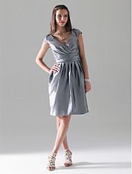 cheap -Sheath / Column V Neck Knee Length Taffeta Bridesmaid Dress with Draping / Criss Cross by LAN TING BRIDE®