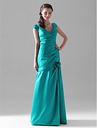 Mermaid / Trumpet V-neck Floor Length Satin Bridesmaid Dress with Flower(s) Side Draping Ruching by LAN TING BRIDE®