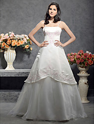 cheap -A-Line Princess Spaghetti Straps Floor Length Satin Tulle Wedding Dress with by LAN TING BRIDE®