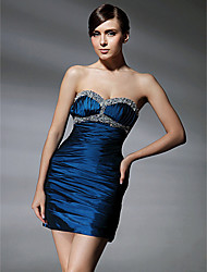 Sheath / Column Sweetheart Short / Mini Taffeta Cocktail Party Homecoming Dress with Beading Draping Ruching by TS Couture®