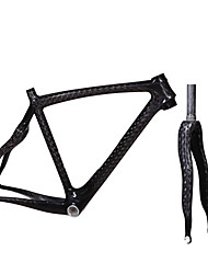 cheap -700C Full Carbon Feather Light Snake Shaped Diamond Road Bike Frame with Rigid Fork Natural Color