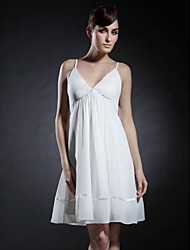 A-Line Princess V-neck Spaghetti Straps Short / Mini Chiffon Graduation Dress with Beading by TS Couture®