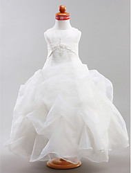 Ball Gown Floor Length Flower Girl Dress - Organza Satin Sleeveless Jewel Neck with Appliques by LAN TING BRIDE®