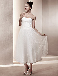 cheap -A-Line / Princess Strapless Tea Length Lace / Satin Made-To-Measure Wedding Dresses with Draping by LAN TING BRIDE®