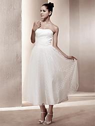 preiswerte -A-Linie / Prinzessin Trägerlos Tee-Länge Spitze / Satin Maßgeschneiderte Brautkleider mit Drapiert durch LAN TING BRIDE®