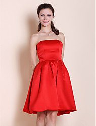 A-Line Princess Strapless Knee Length Satin Bridesmaid Dress with Pleats by LAN TING BRIDE®