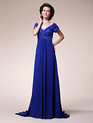 A-Line V-neck Sweep / Brush Train Chiffon Stretch Satin Mother of the Bride Dress with Beading by LAN TING BRIDE®