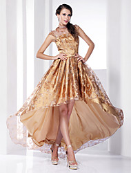 A-Line Princess High Neck Asymmetrical Sweep / Brush Train Organza Evening Dress with Buttons by TS Couture®