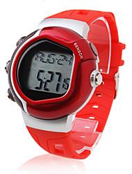 Da uomo Orologio sportivo Digitale LCD Pulsometro Calendario Cronografo allarme Banda Rosso Rosso