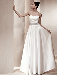 cheap -A-Line Sweetheart Floor Length Satin Wedding Dress with Beading by LAN TING BRIDE®