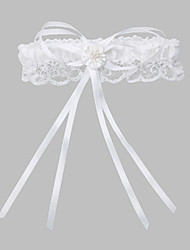 cheap -Polyester Lace Classic Wedding Garter with Imitation Pearl Ribbon Tie Garters